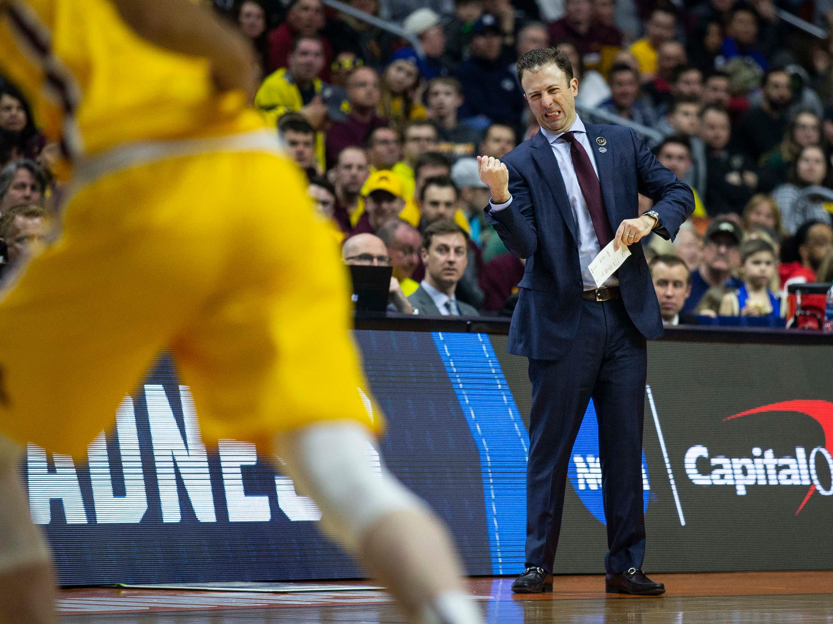 Minnesota Head Coach Richard Pitino makes a face while watching the NCAA Tournament second-round match-up between Minnesota and Michigan State on Saturday, March 23, 2019, in Wells Fargo Arena in Des Moines, Iowa.