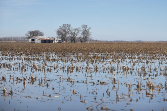 A field outside Sidney is half-submerged in floodwaters on Friday, March 22, 2019.