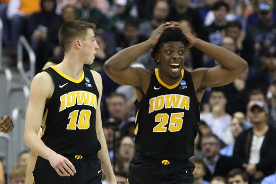 Iowa Hawkeyes forward Tyler Cook (25) reacts to play in the second half against the Tennessee Volunteers in the second round of the 2019 NCAA Tournament at Nationwide Arena.
