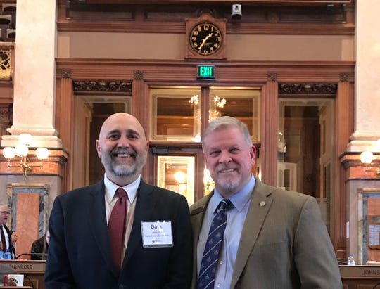 Dave Opie from the Rural Electric Cooperatives met with state Rep. Scott Ourth at the Capitol last week.