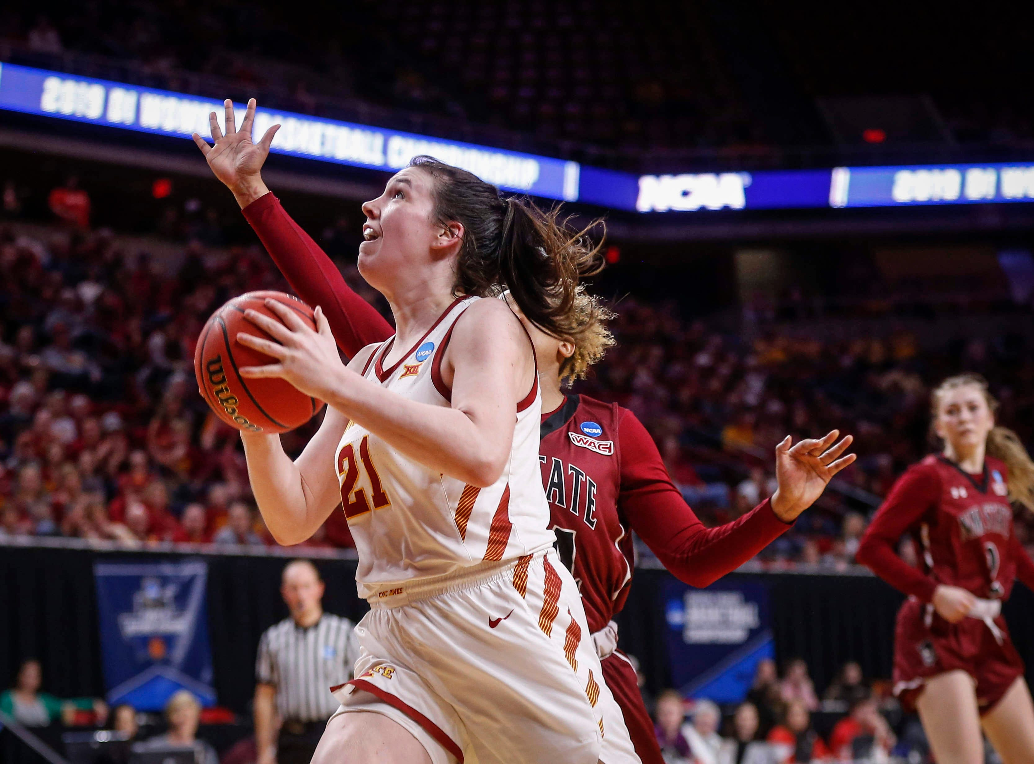 Iowa State senior Bridget Carleton drives into the lane against New Mexico State on Saturday, March 23, 2019, at Hilton Coliseum in Ames.