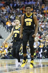 Iowa Hawkeyes forward Tyler Cook (25) reacts to ally in the second half against the Tennessee Volunteers in the second round of the 2019 NCAA Tournament at Nationwide Arena.