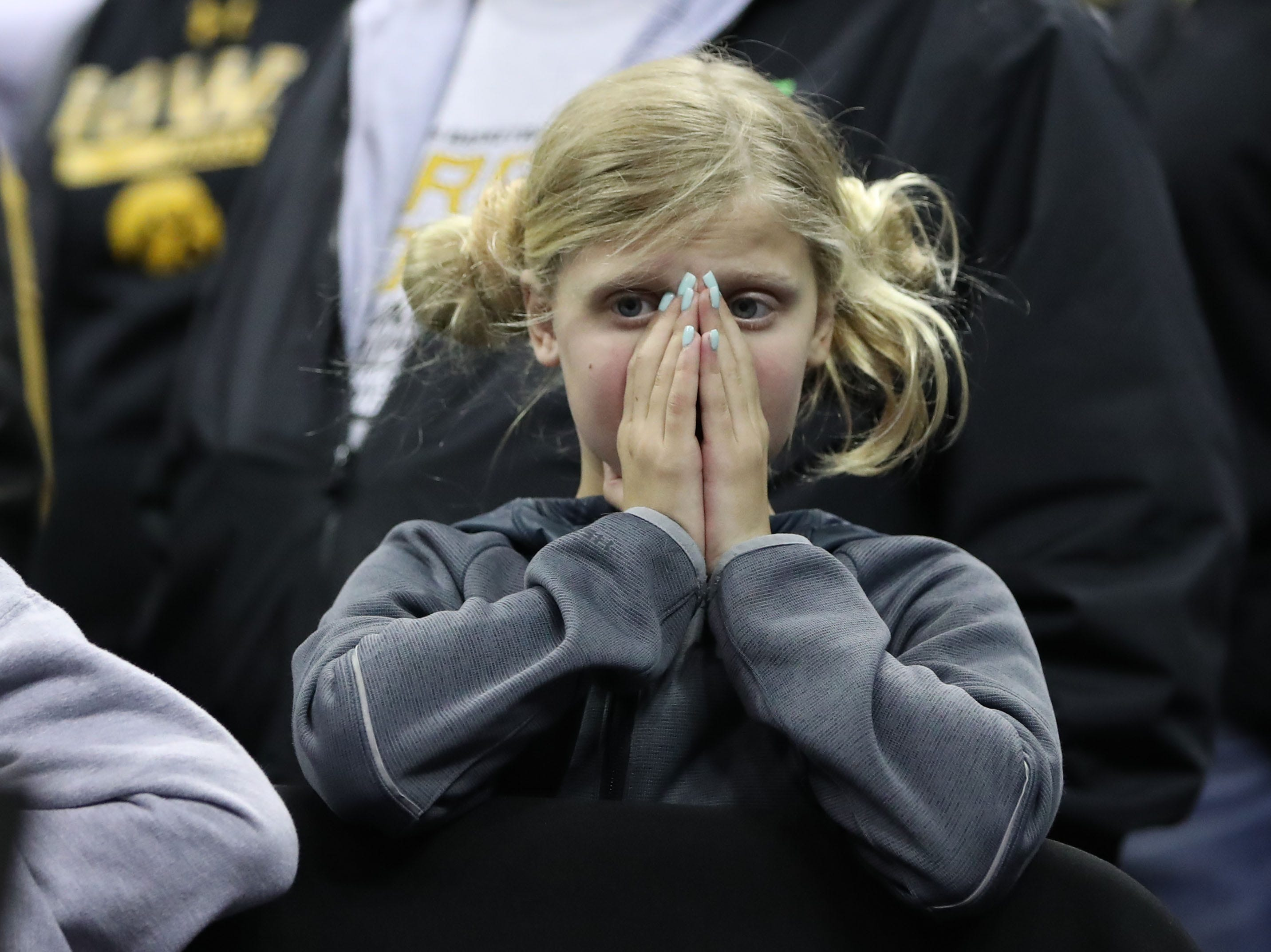 Iowa Hawkeyes fan reacts to ally in the second half against the Tennessee Volunteers in the second round of the 2019 NCAA Tournament at Nationwide Arena.