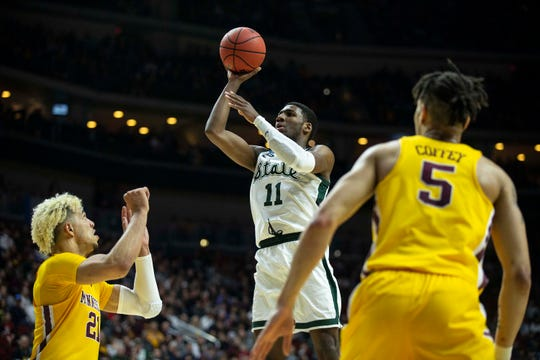 Michigan State's Aaron Henry shoots the ball during the NCAA Tournament second-round match-up between Minnesota and Michigan State on Saturday, March 23, 2019, in Wells Fargo Arena in Des Moines, Iowa.