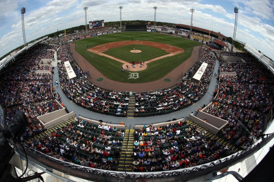 A look at Publix Field at Joker Marchant Stadium, spring training home of the Detroit Tigers, during a game against the Toronto Blue Jays, March 24, 2019.