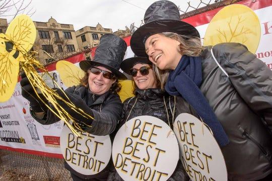 Ginny McNamara, Maureen McNamara and Jennifer Stark take a selfie prior to the 10th annual Marche du Nain Rouge parade through Midtown Detroit on Sunday, March 24, 2019.