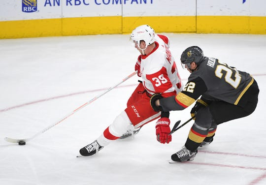 Anthony Mantha earns a penalty on Vegas' Nick Holden in the second period Saturday night.