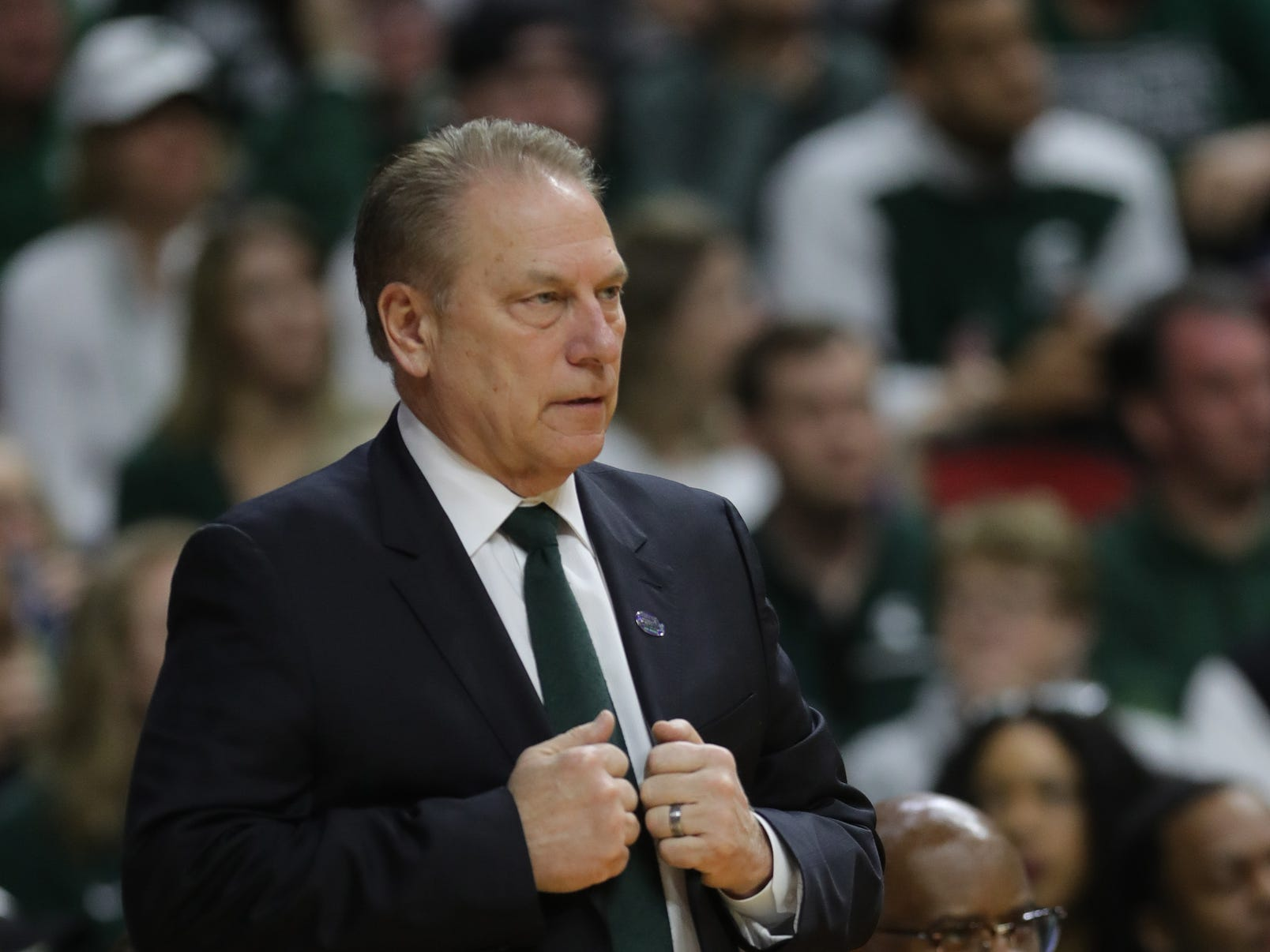 Michigan State coach Tom Izzo during the second half against Minnesota in the NCAA tournament Saturday, March 23, 2019 at Wells Fargo Arena in Des Moines, Iowa.