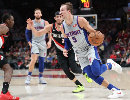 Detroit Pistons guard Luke Kennard against the Portland Trail Blazers in the first half  at Moda Center, March 23, 2019.