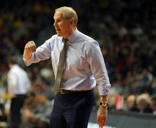 John Beilein coaches in the first half Saturday. He has Michigan in the Sweet 16 for the 5th time in the past 7 seasons.