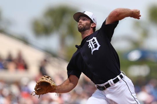 Detroit Tigers starting pitcher Daniel Norris throws against the Toronto Blue Jays in the first inning at Joker Marchant Stadium, March 24, 2019.