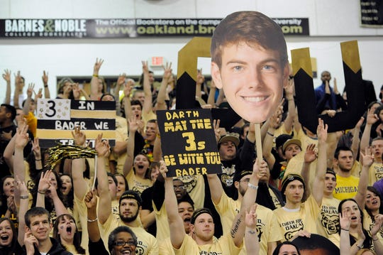 The Oakland student section was loving Travis Bader as he neared the 3-point record in 2014.