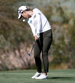 Lydia Ko hits from the seventh fairway during the third round of the Founders Cup LPGA tournament.