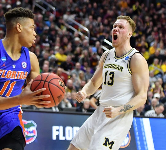Michigan forward Ignas Brazdeikis (13) is projected to be a mid-second-round pick and ranked the No. 48 prospect in the draft by ESPN.