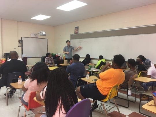 Fannie Lou Hamer's America Director Joy Davenport and FSU's College of Communication & Information work with students in the filmmakers' workshop, Gentry High School, Indianola, MS.