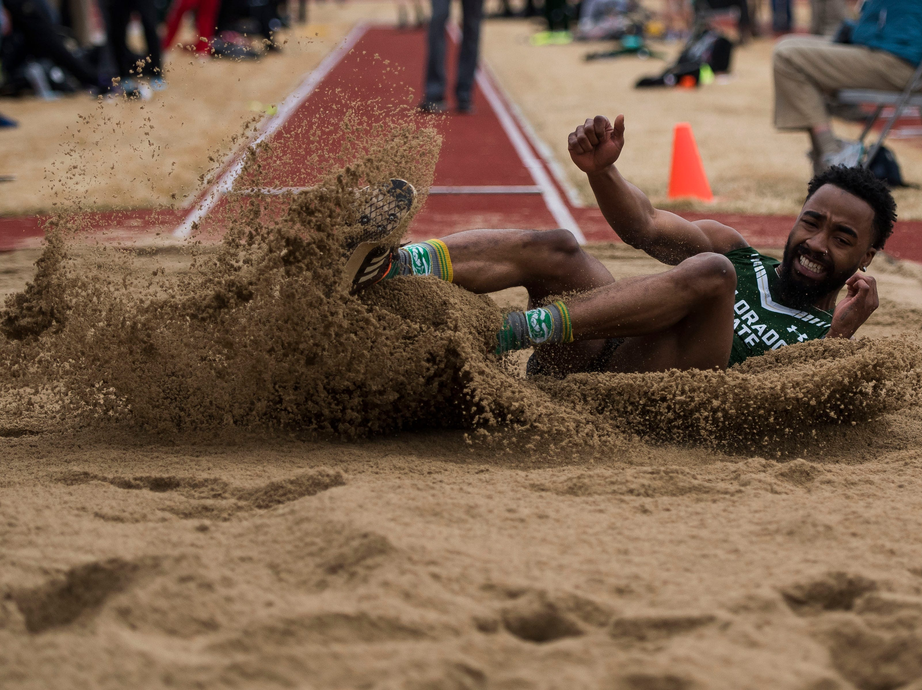 Colorado State University sophomore Isa Bynum competes in the long jump on Saturday, March 23, 2019, at the Jack Christiansen Memorial Track in Fort Collins, Colo.