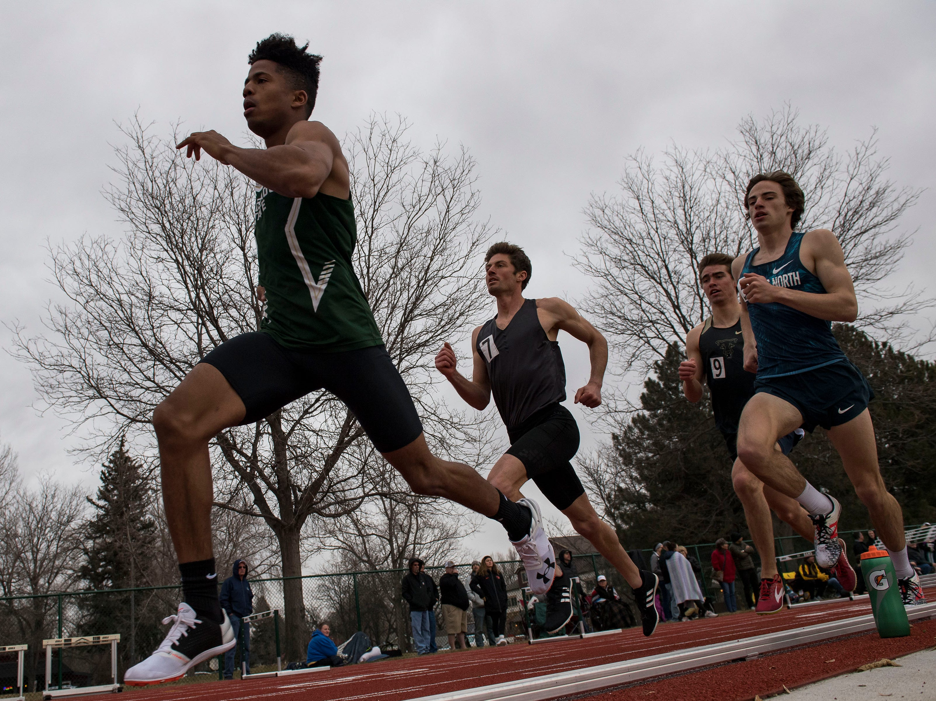 Colorado State University sophomore Yanique Borne competes in the mens 800-meter run on Saturday, March 23, 2019, at the Jack Christiansen Memorial Track in Fort Collins, Colo.