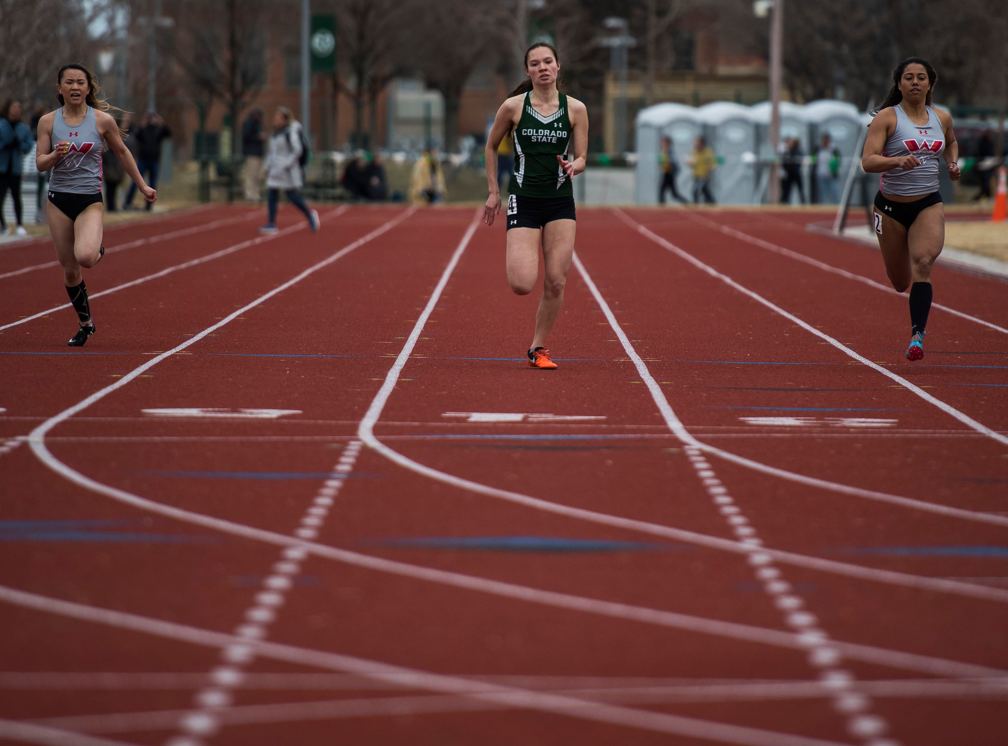 Colorado State University sophomore Krista Mayer competes in the women's 200-meter dash on Saturday, March 23, 2019, at the Jack Christiansen Memorial Track in Fort Collins, Colo.