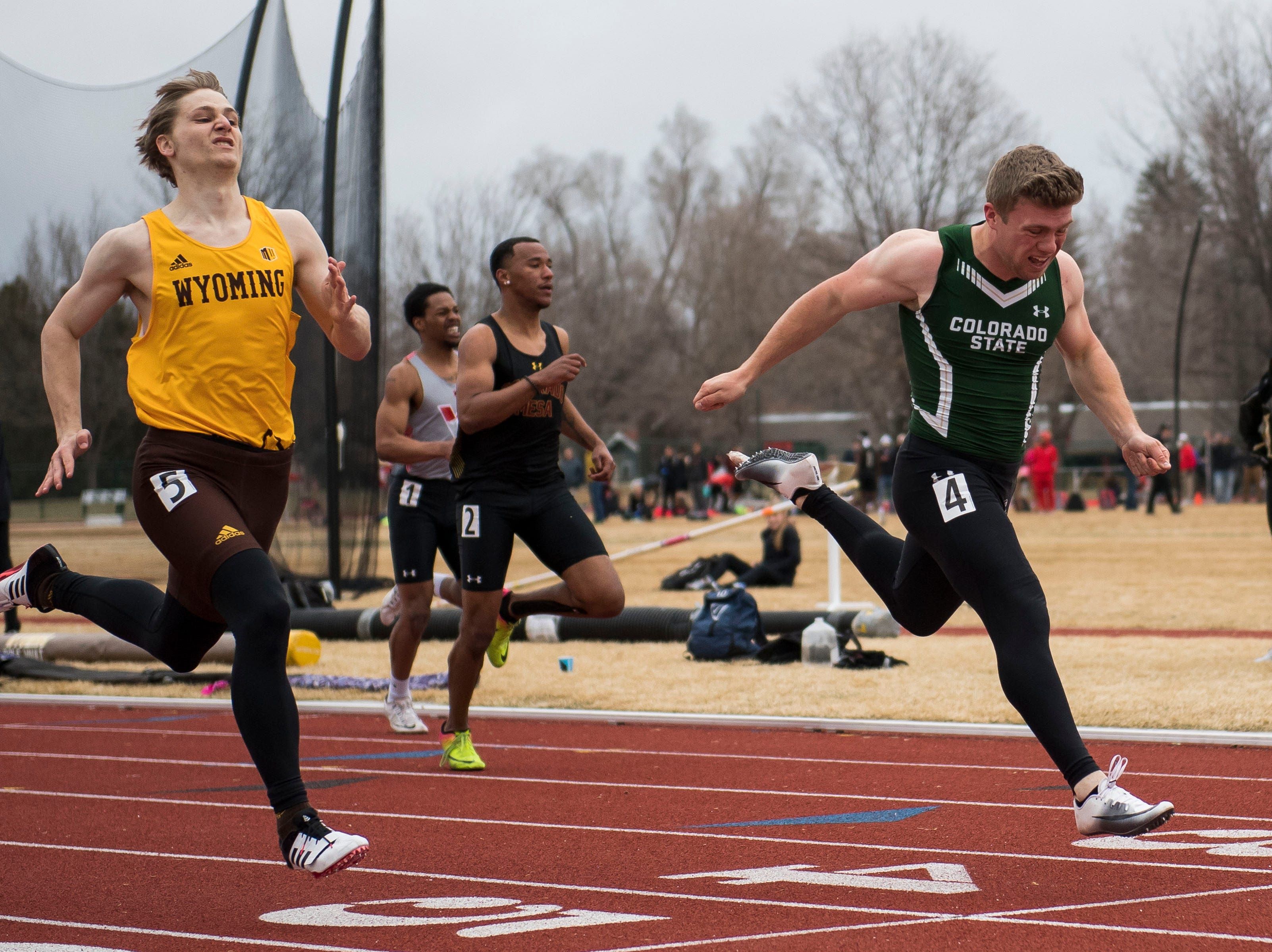 Colorado State University junior Will Domier competes in the mens 200-meter dash on Saturday, March 23, 2019, at the Jack Christiansen Memorial Track in Fort Collins, Colo.