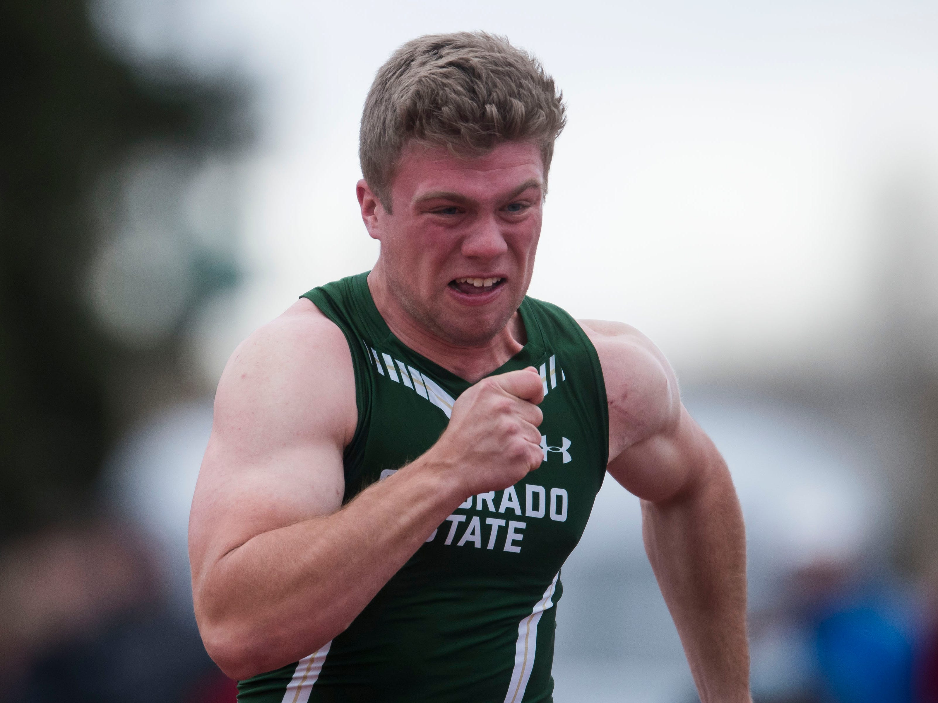 Colorado State University junior Will Domier competes in the mens 100-meter dash on Saturday, March 23, 2019, at the Jack Christiansen Memorial Track in Fort Collins, Colo.