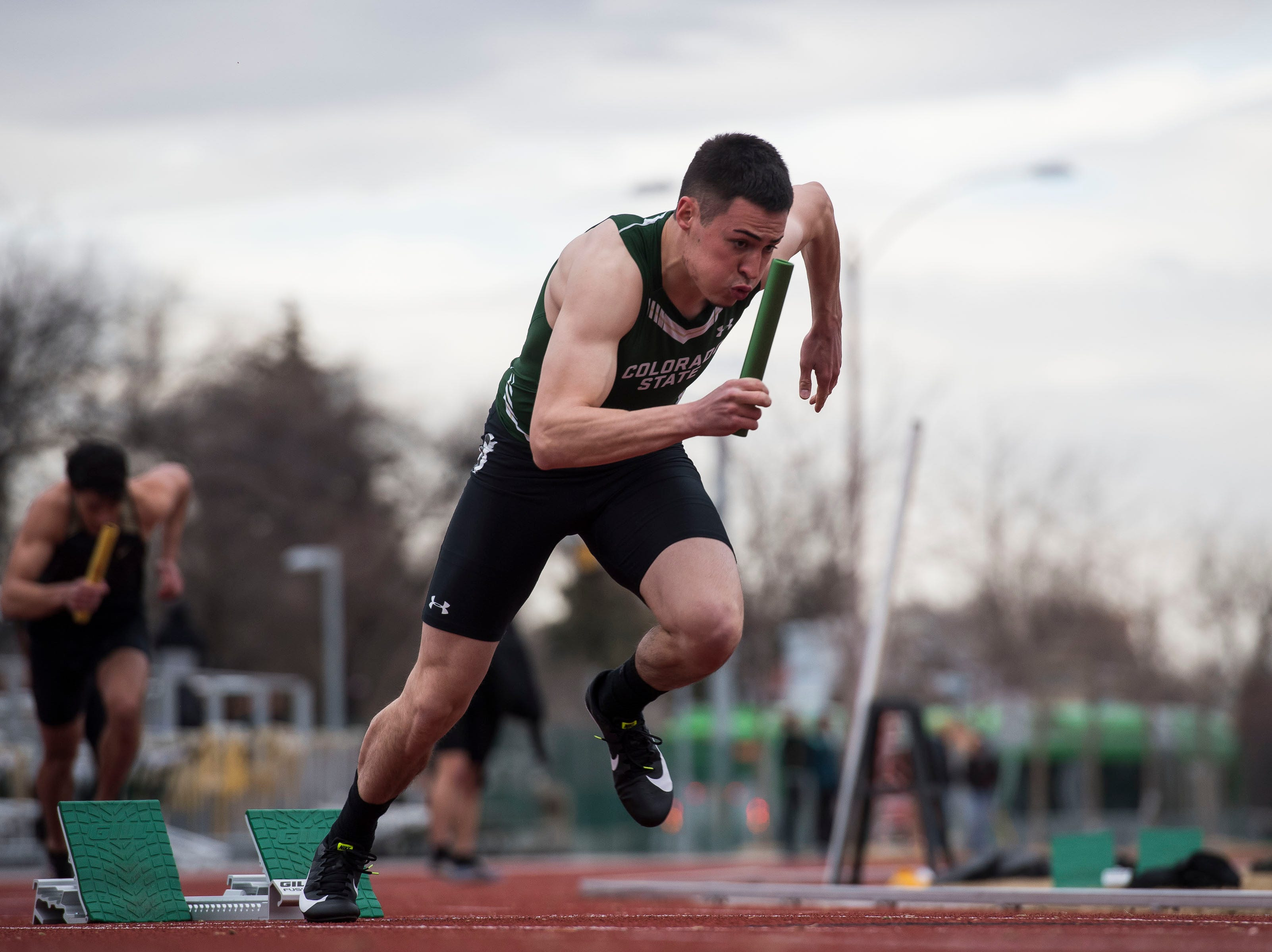 Colorado State University freshman Aaron Eurekcomes off the blocks during the mens 4x400-meter relay on Saturday, March 23, 2019, at the Jack Christiansen Memorial Track in Fort Collins, Colo.