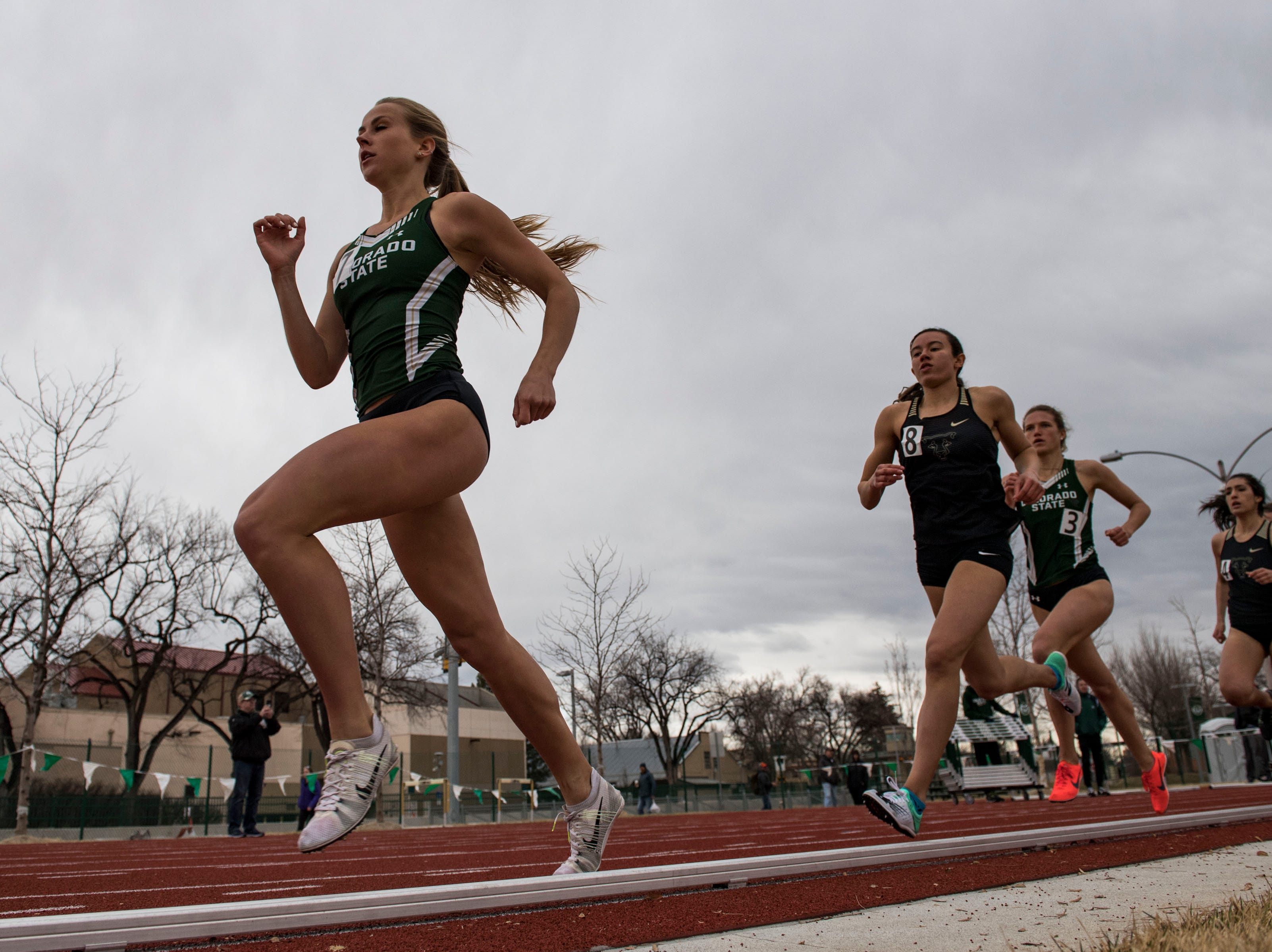 Colorado State University senior Macy Kreutz competes in the women's 800-meter run on Saturday, March 23, 2019, at the Jack Christiansen Memorial Track in Fort Collins, Colo.