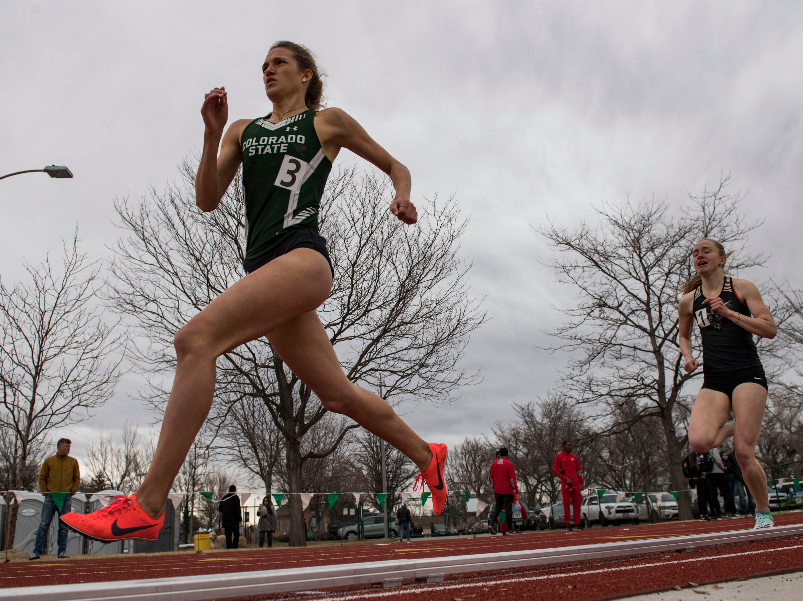 Colorado State University senior Roxy Trotter competes in the women's 800-meter run on Saturday, March 23, 2019, at the Jack Christiansen Memorial Track in Fort Collins, Colo.