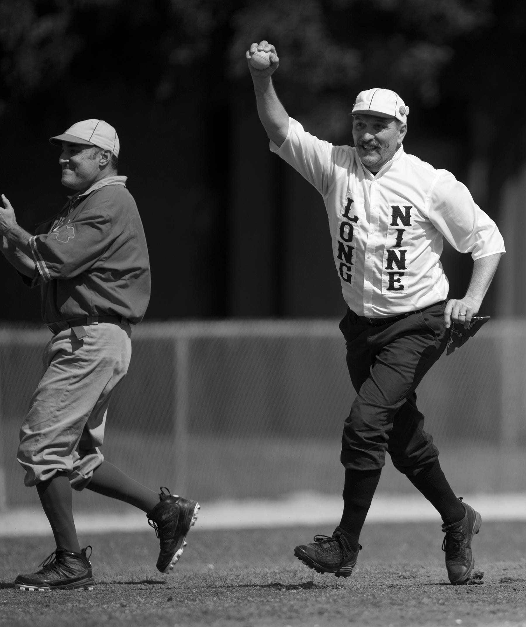 """Tim """"Super D"""" DeSherlia of the Springfield Long Nine plays against the Mudville Base Ball Club on Sunday at Terry Park in Fort Myers. Vintage baseball teams from throughout the country competed in the event presented by the Edison and Ford Winter Estates."""