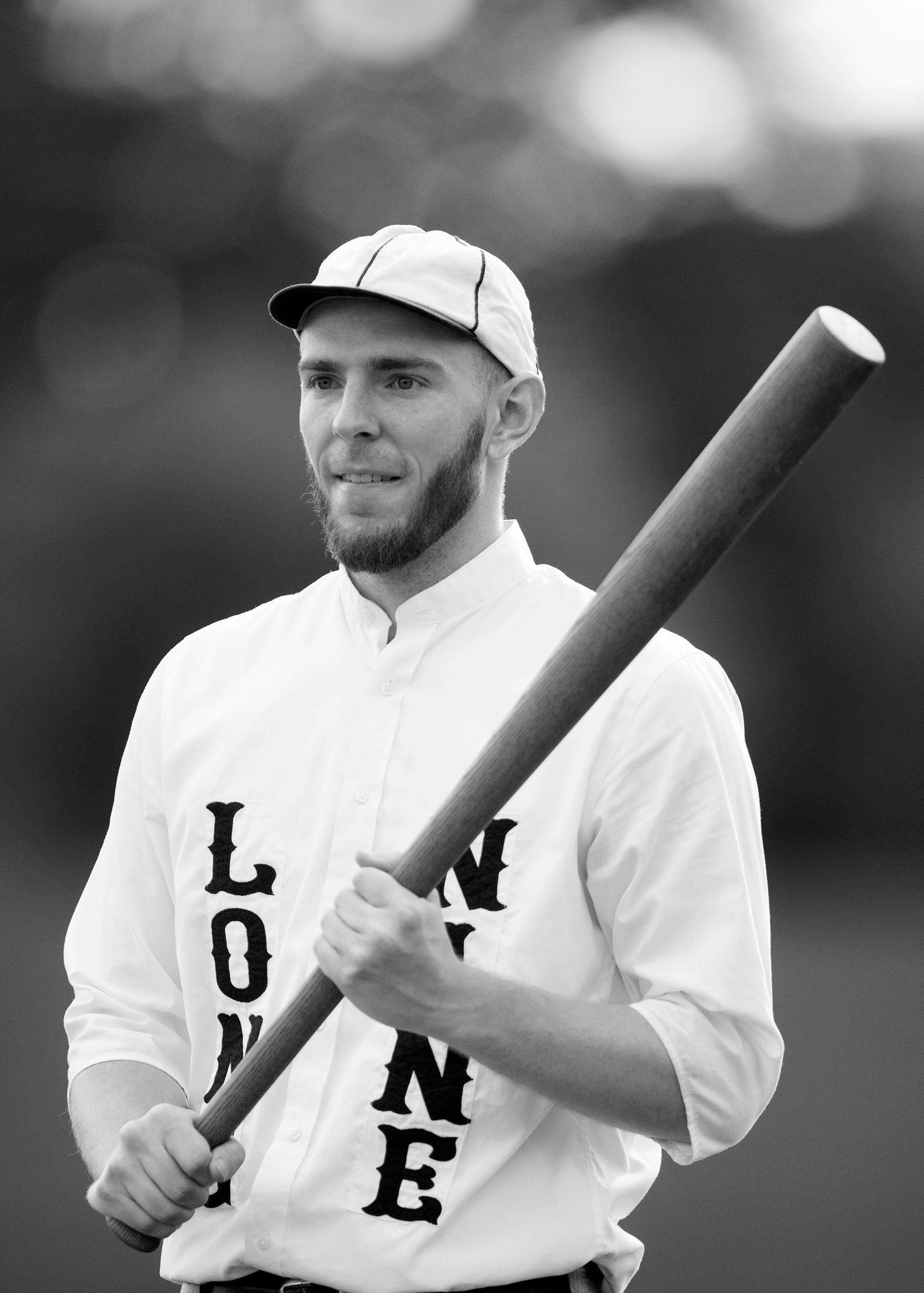 """Clayton """"Flamingo"""" Smith of the Springfield Long Nine bats against the Mudville Base Ball Club on Sunday at Terry Park in Fort Myers. Vintage baseball teams from throughout the country competed in the event presented by the Edison and Ford Winter Estates."""