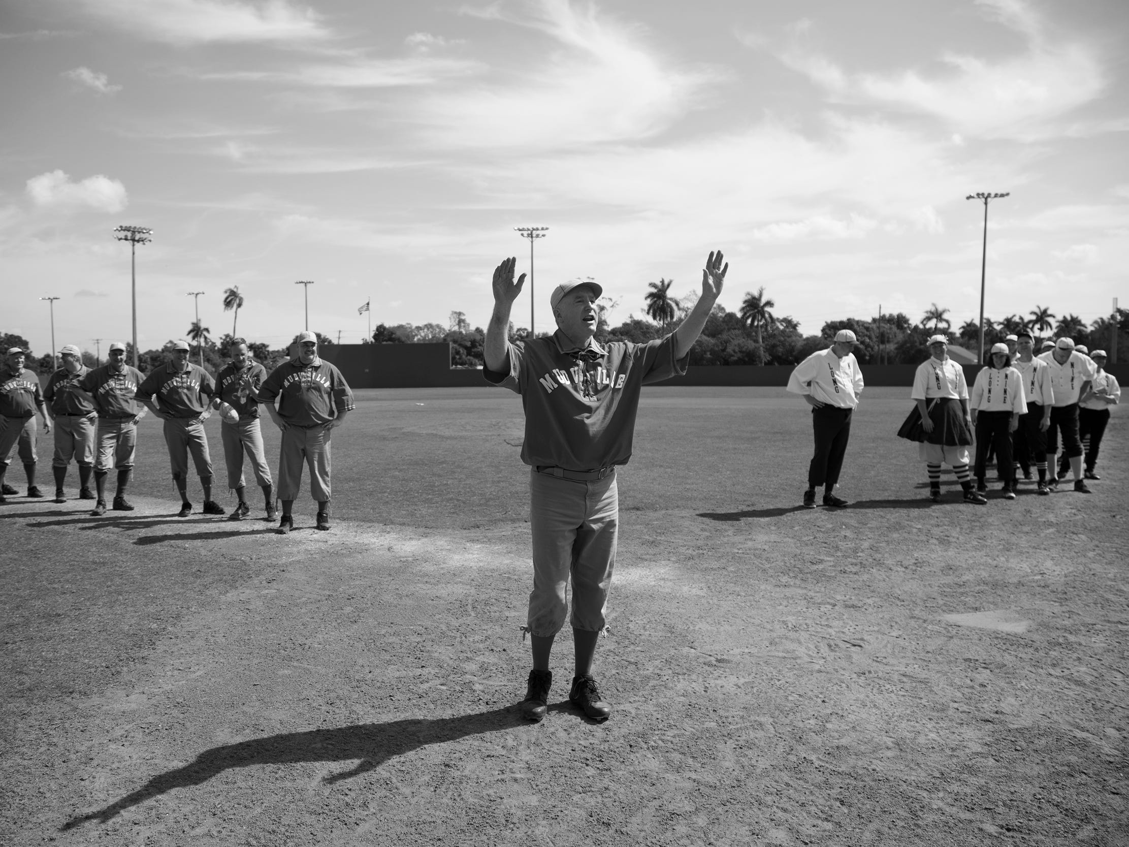 Game action between the Springfield Long Nine and the Mudville Base Ball Club on Sunday at Terry Park in Fort Myers. Vintage baseball teams from throughout the country competed in the event presented by the Edison and Ford Winter Estates.