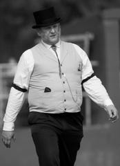 "Allen ""Honest Al"" Stare umpires the game between the Springfield Long Nine and the Mudville Base Ball Club on Sunday at Terry Park in Fort Myers. Vintage baseball teams from throughout the country competed in the event presented by the Edison and Ford Winter Estates."