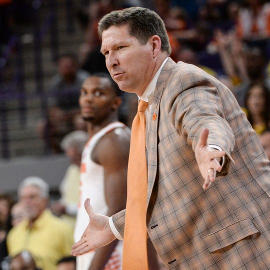 Clemson head coach Brad Brownell during the second half in the second round of the NIT at Littlejohn Coliseum in Clemson Sunday, March 24, 2019.
