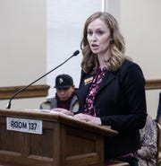 Chelcie Cargill represents the interests of the Montana Farm Bureau Federation at a March 21 committee hearing for a bill that would allow bison to be transferred from Yellowstone to the Fort Peck Indian Reservation.