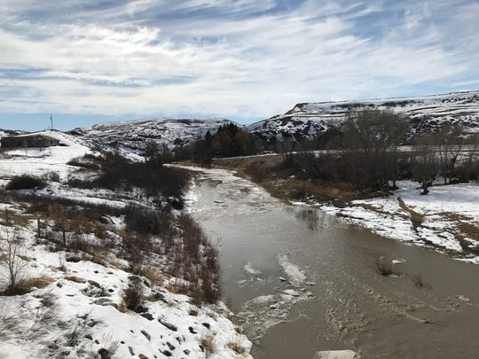 Belt Creek was flowing high with snowmelt Saturday near the border of Cascade and Chouteau counties.