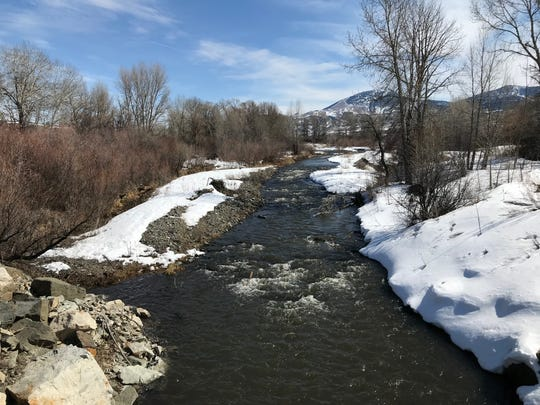 Area creeks and rivers, including Highwood Creek off of Upper Highwood Creek Road in the Highwood Mountains, are flowing fast as the large amount of snow received in February and early March began to melt in earnest with temperatures reaching the 50s.