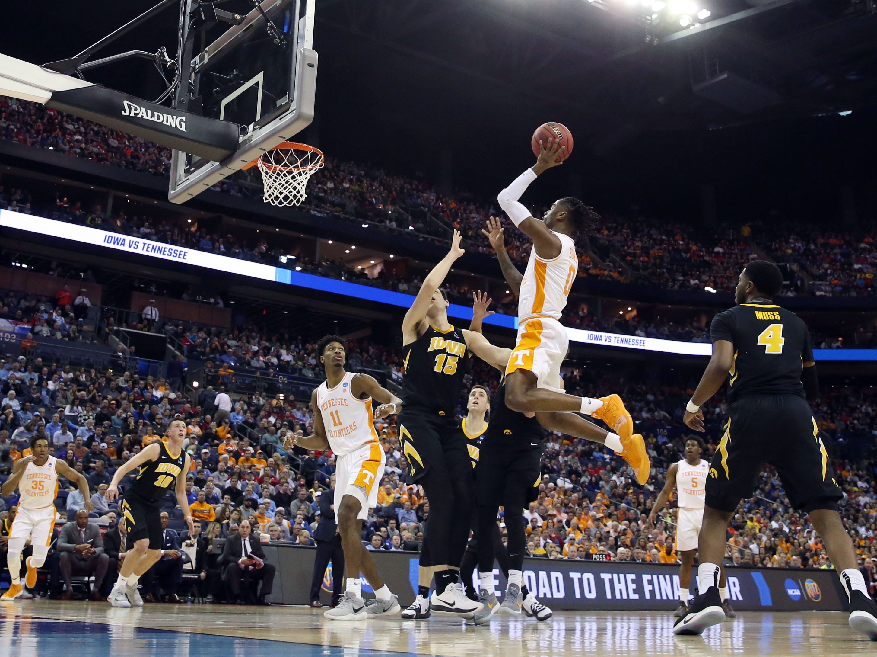 Tennessee Volunteers guard Jordan Bone (0) shoots the ball over Iowa Hawkeyes forward Ryan Kriener (15) in the first half in the second round of the 2019 NCAA Tournament at Nationwide Arena.