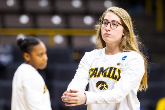 Iowa guard Kate Martin warms up before a NCAA women's basketball tournament second-round game, Sunday, March 24, 2019, at Carver-Hawkeye Arena in Iowa City, Iowa.