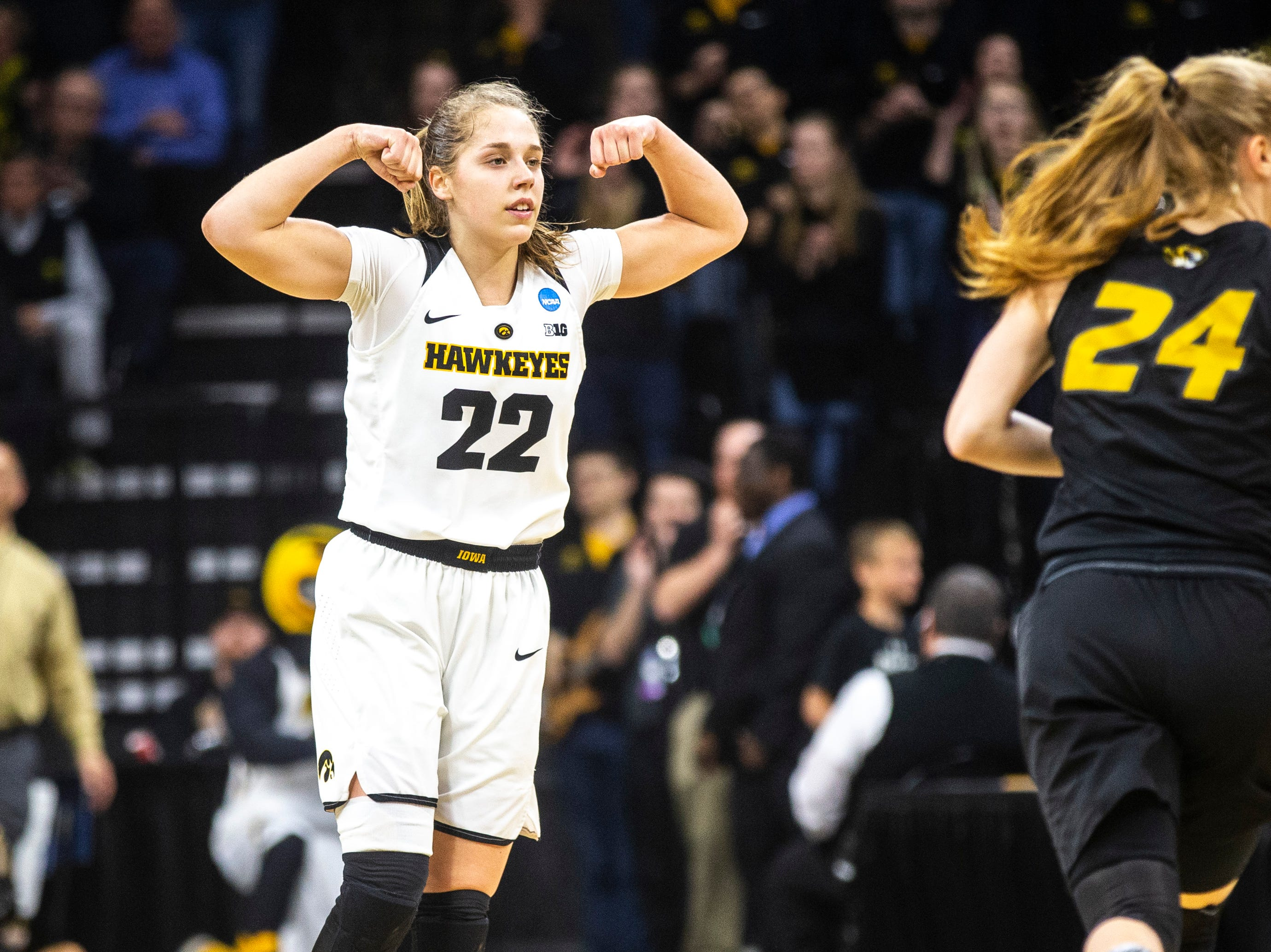 Iowa guard Kathleen Doyle (22) flexes while settling in on defense during a NCAA women's basketball tournament second-round game, Sunday, March 24, 2019, at Carver-Hawkeye Arena in Iowa City, Iowa.