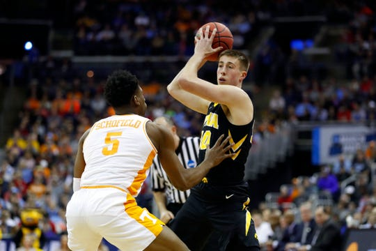 If Hawkeye basketball fans are looking for reasons for optimism for next year's team, they can start with forward Joe Wieskamp (here looking to drive on Tennessee's Admiral Schofield on Sunday). He will be a sophomore next year and vows to help lead the team back to the NCAA Tournament.