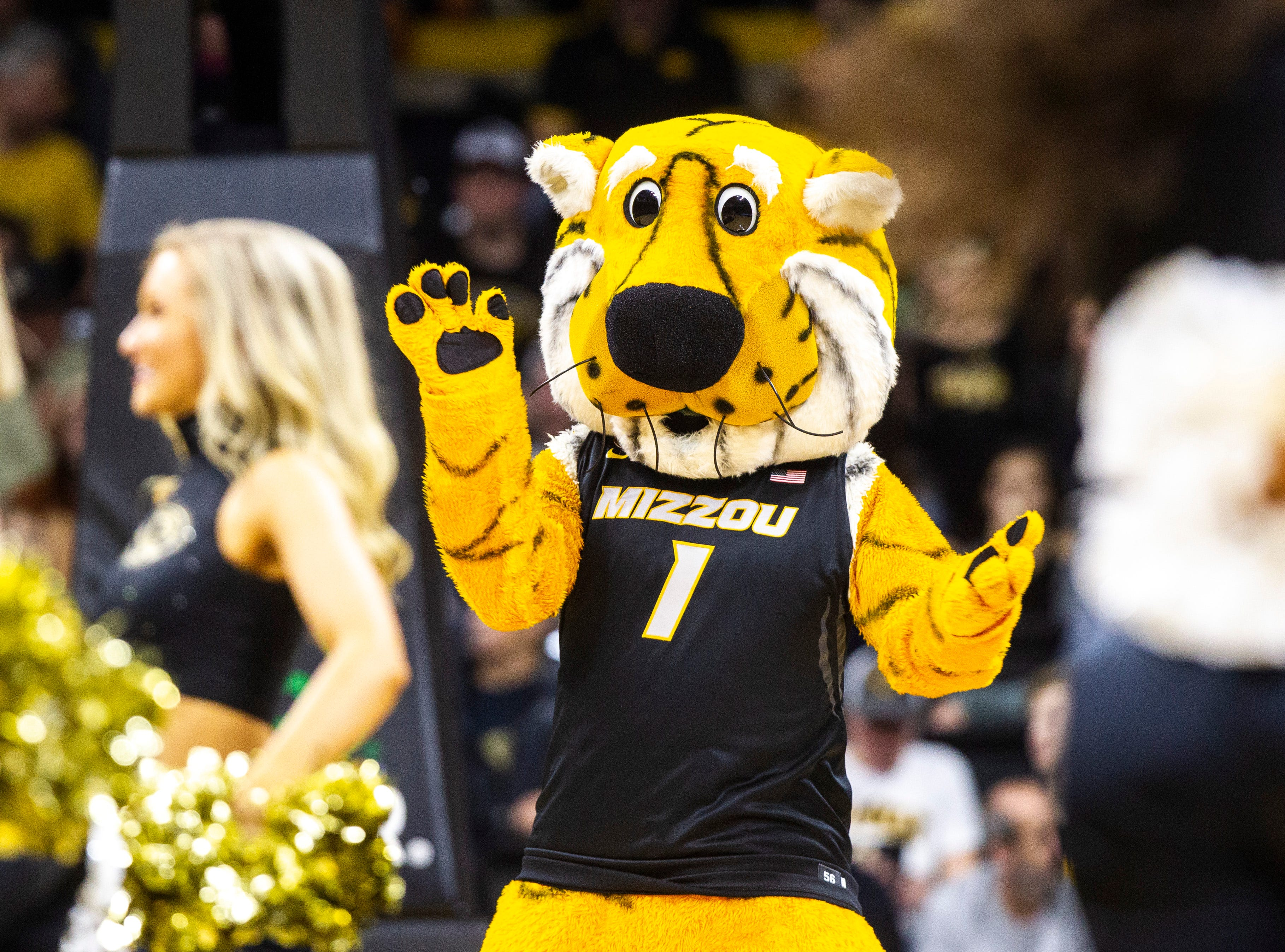 Truman the Tiger, Missouri's mascot, stands on the court during a NCAA women's basketball tournament second-round game, Sunday, March 24, 2019, at Carver-Hawkeye Arena in Iowa City, Iowa.