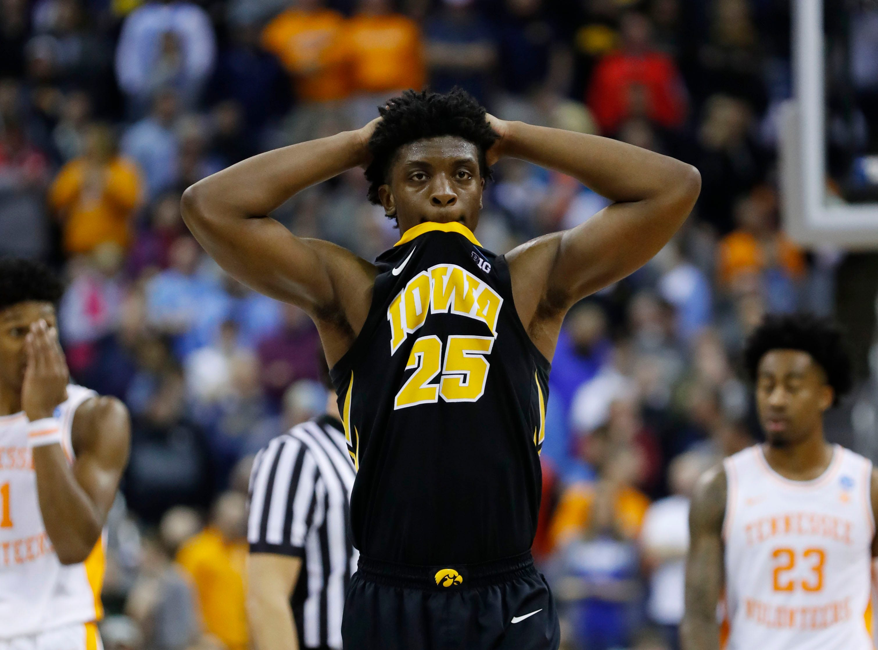 Iowa Hawkeyes forward Tyler Cook (25) reacts to play in overtime against the Tennessee Volunteers in the second round of the 2019 NCAA Tournament at Nationwide Arena.