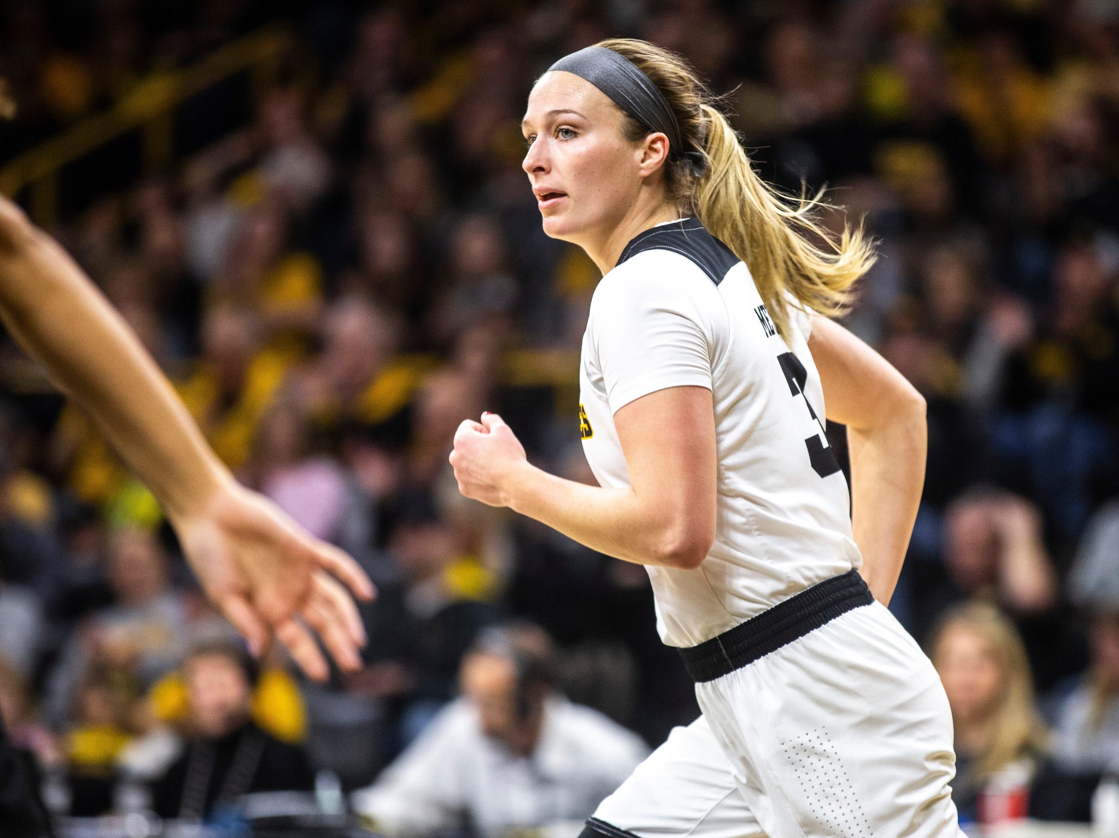 Iowa guard Makenzie Meyer (3) runs up court after making a basket during a NCAA women's basketball tournament second-round game, Sunday, March 24, 2019, at Carver-Hawkeye Arena in Iowa City, Iowa.