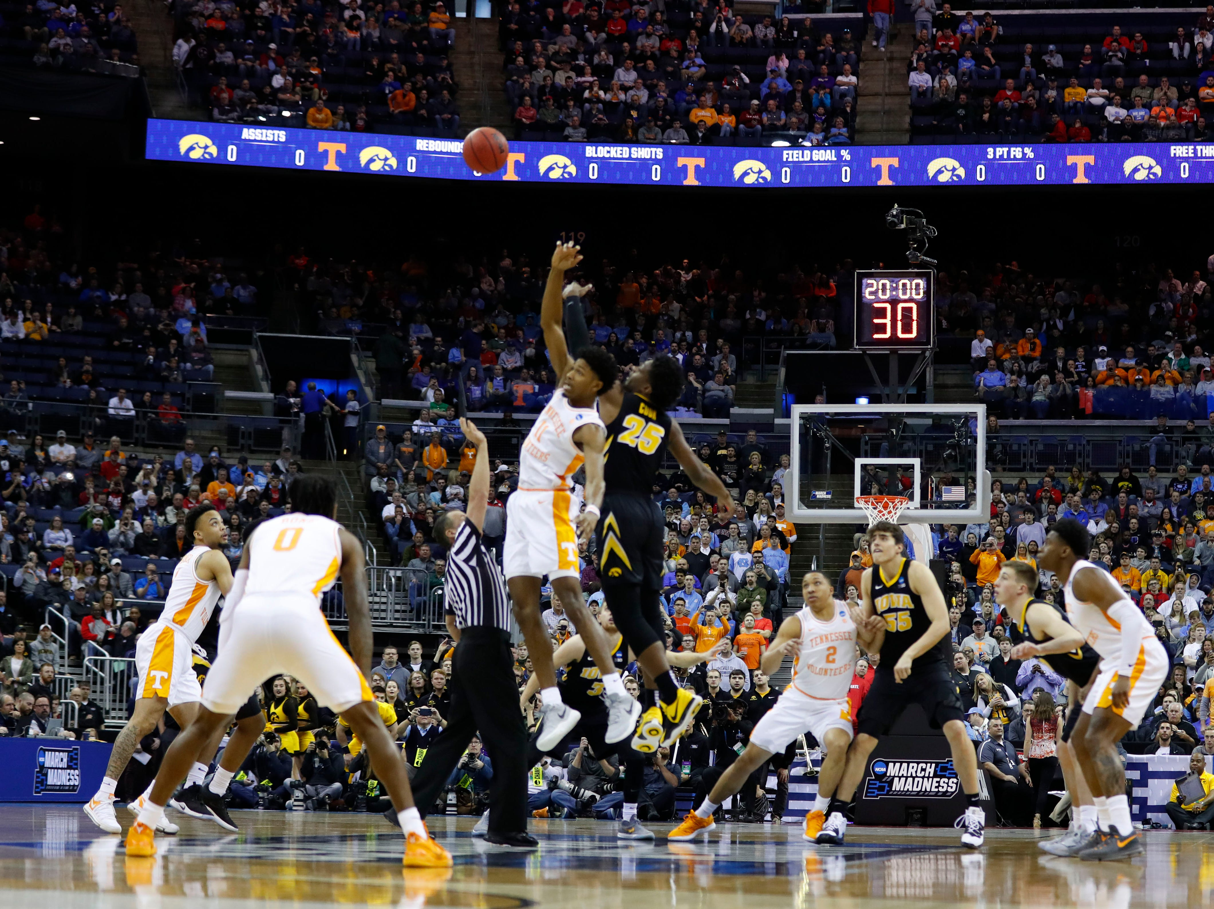 General view go the tip off in the game between Iowa Hawkeyes and Tennessee Volunteers in the second round of the 2019 NCAA Tournament at Nationwide Arena.