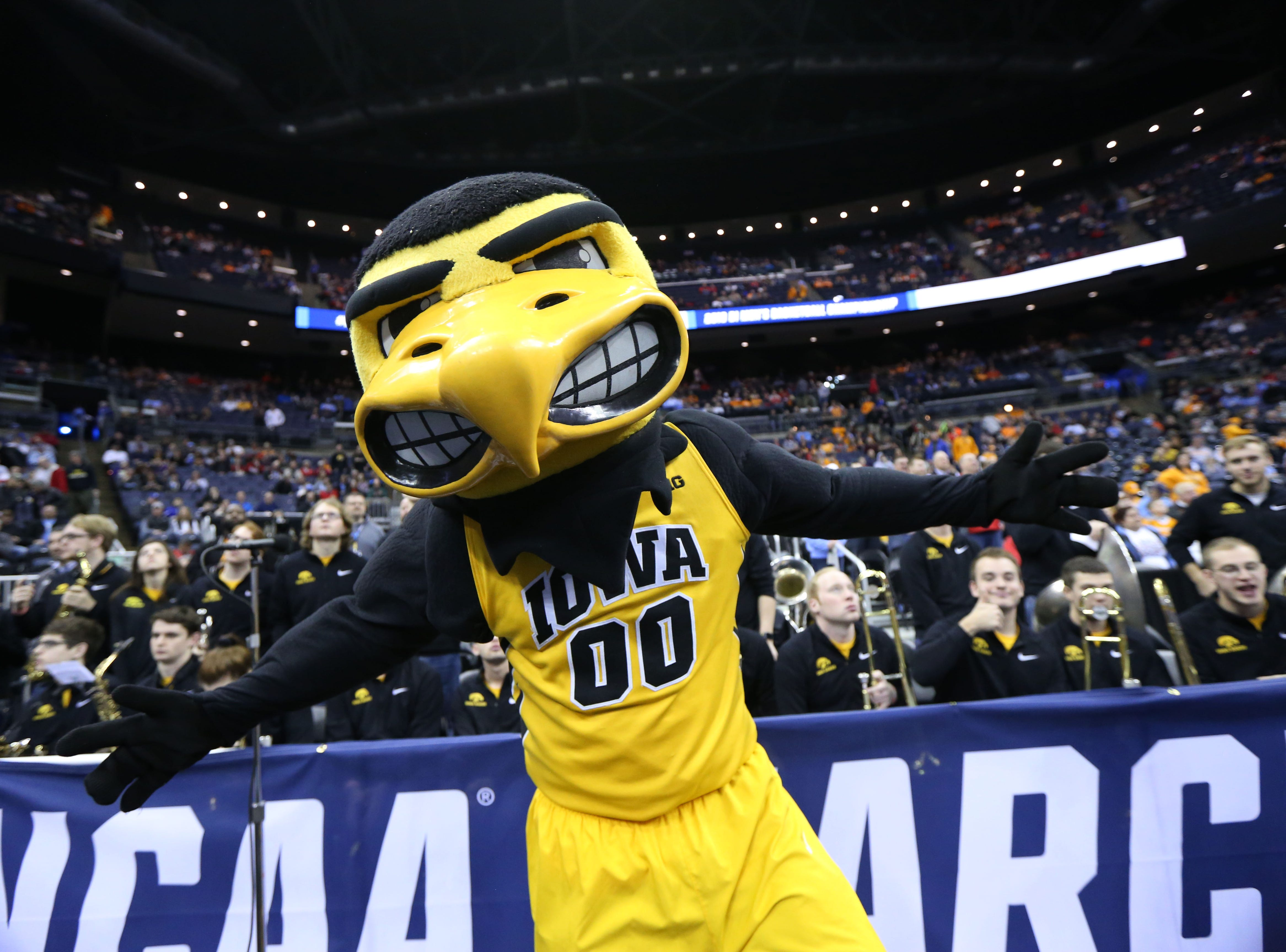 Iowa Hawkeyes mascot Herky the Hawk before the game against the Tennessee Volunteers in the second round of the 2019 NCAA Tournament at Nationwide Arena.