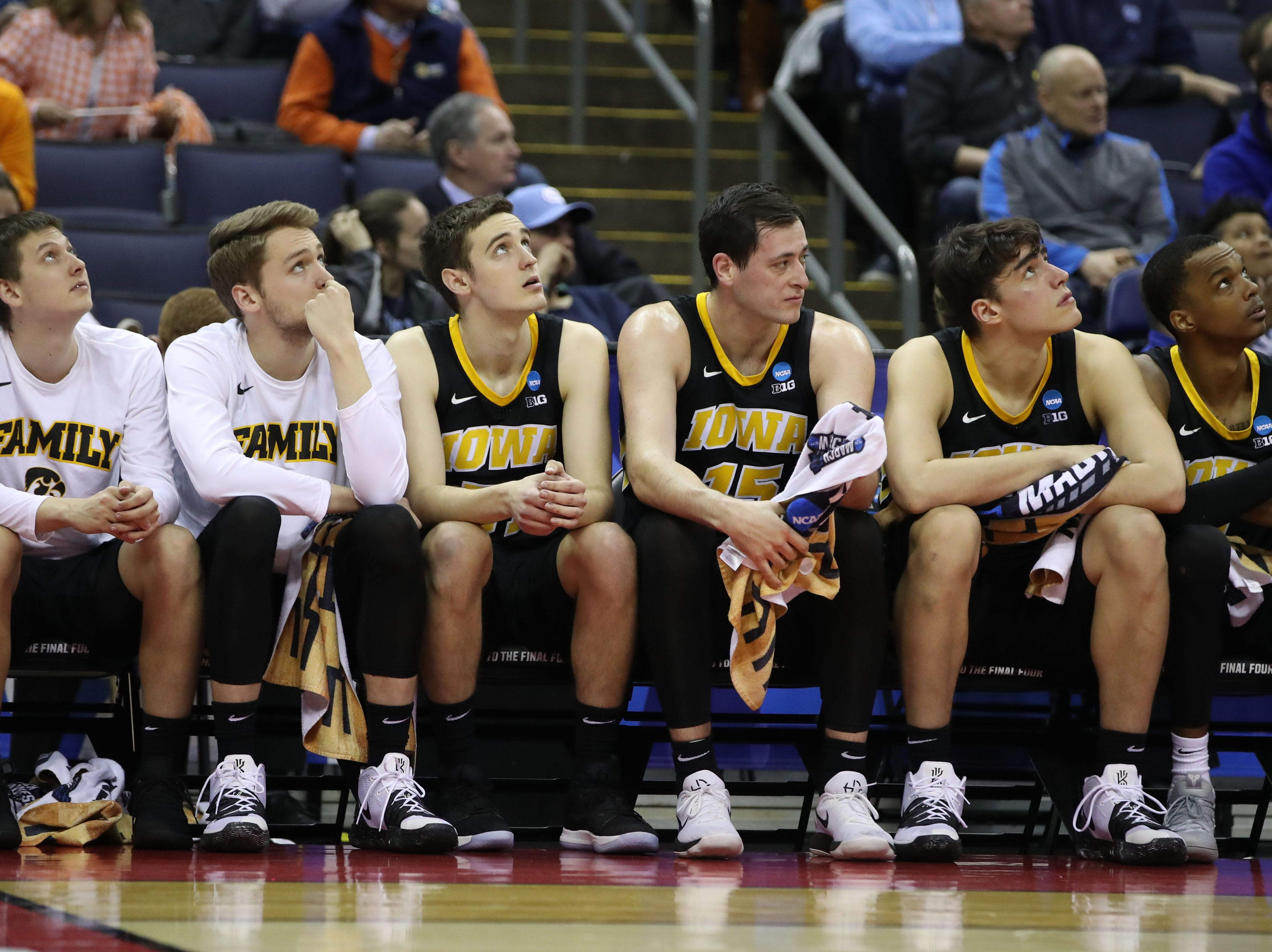 Iowa Hawkeyes bench watch the game against the Tennessee Volunteers in the second round of the 2019 NCAA Tournament at Nationwide Arena.