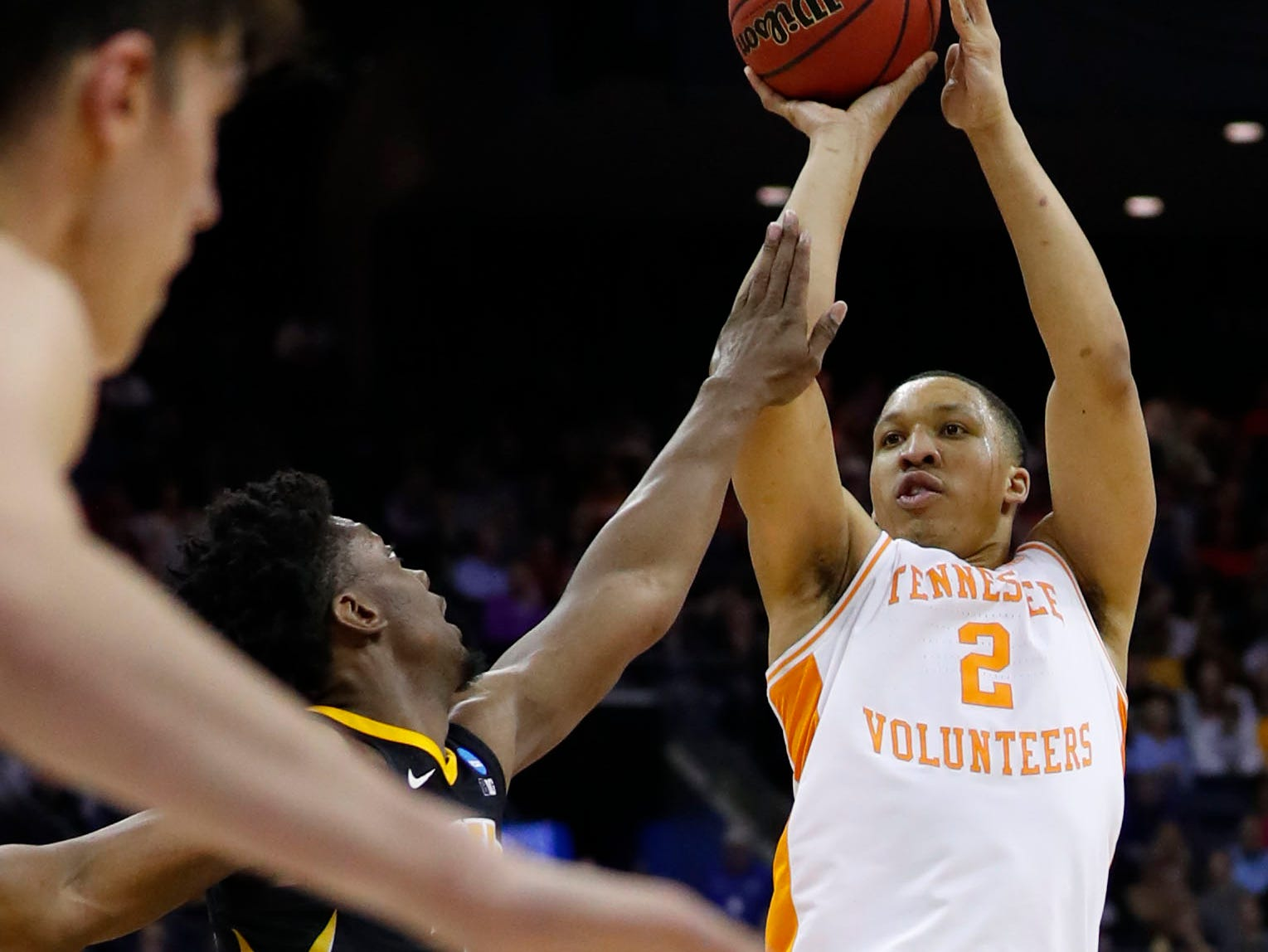 Tennessee Volunteers forward Grant Williams (2) shoots the ball in overtime against the Iowa Hawkeyes in the second round of the 2019 NCAA Tournament at Nationwide Arena.