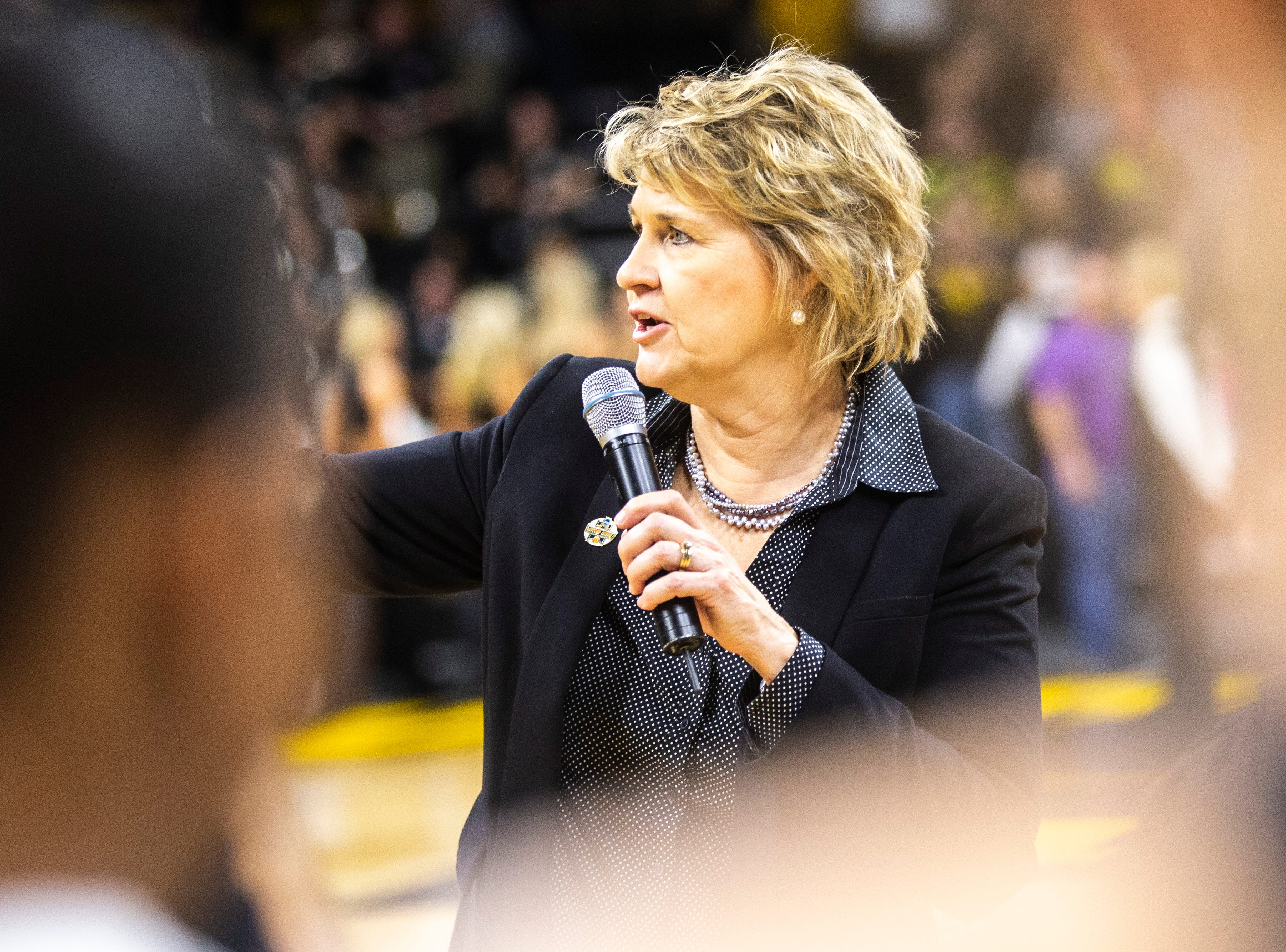Iowa head coach Lisa Bluder thanks fans after a NCAA women's basketball tournament second-round game, Sunday, March 24, 2019, at Carver-Hawkeye Arena in Iowa City, Iowa.
