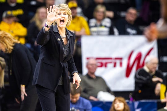 Iowa head coach Lisa Bluder calls out to players during a NCAA women's basketball tournament second-round game, Sunday, March 24, 2019, at Carver-Hawkeye Arena in Iowa City, Iowa.