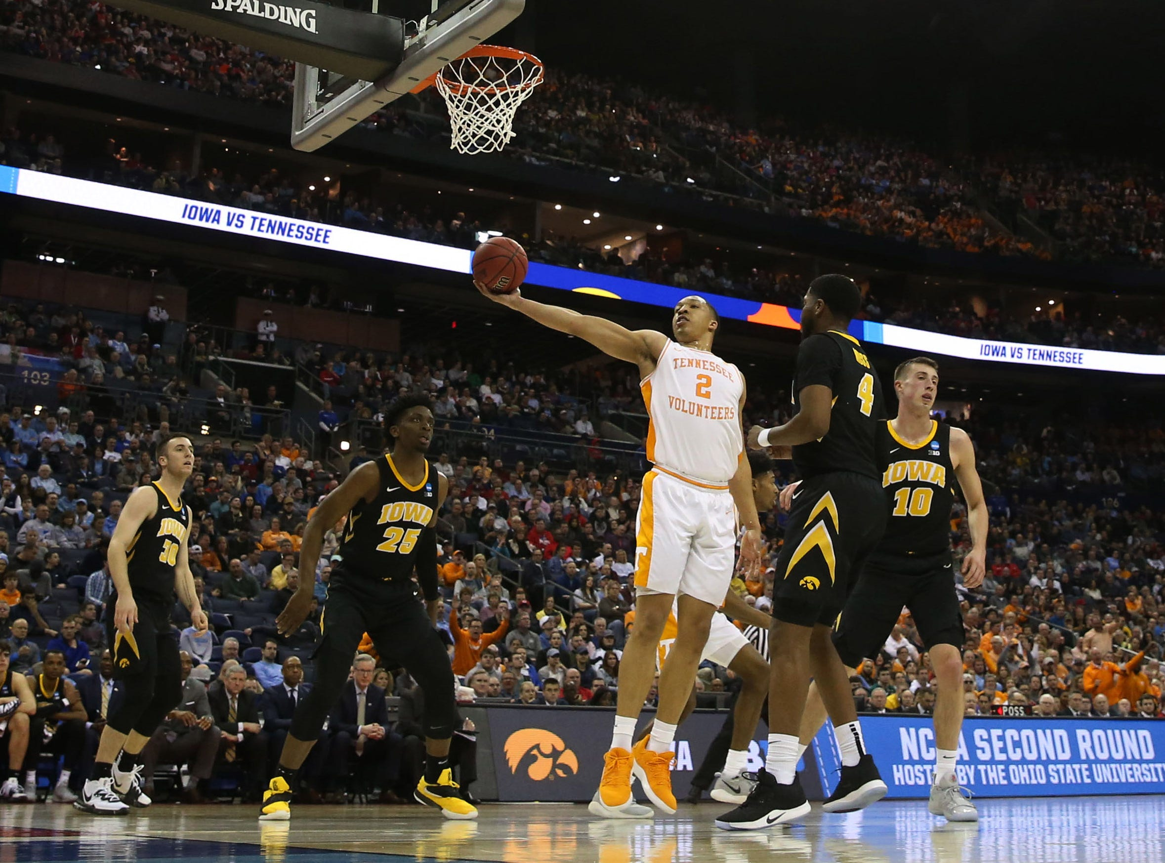 Tennessee Volunteers forward Grant Williams (2) goes to the basket in the first half against the Iowa Hawkeyes in the second round of the 2019 NCAA Tournament at Nationwide Arena.