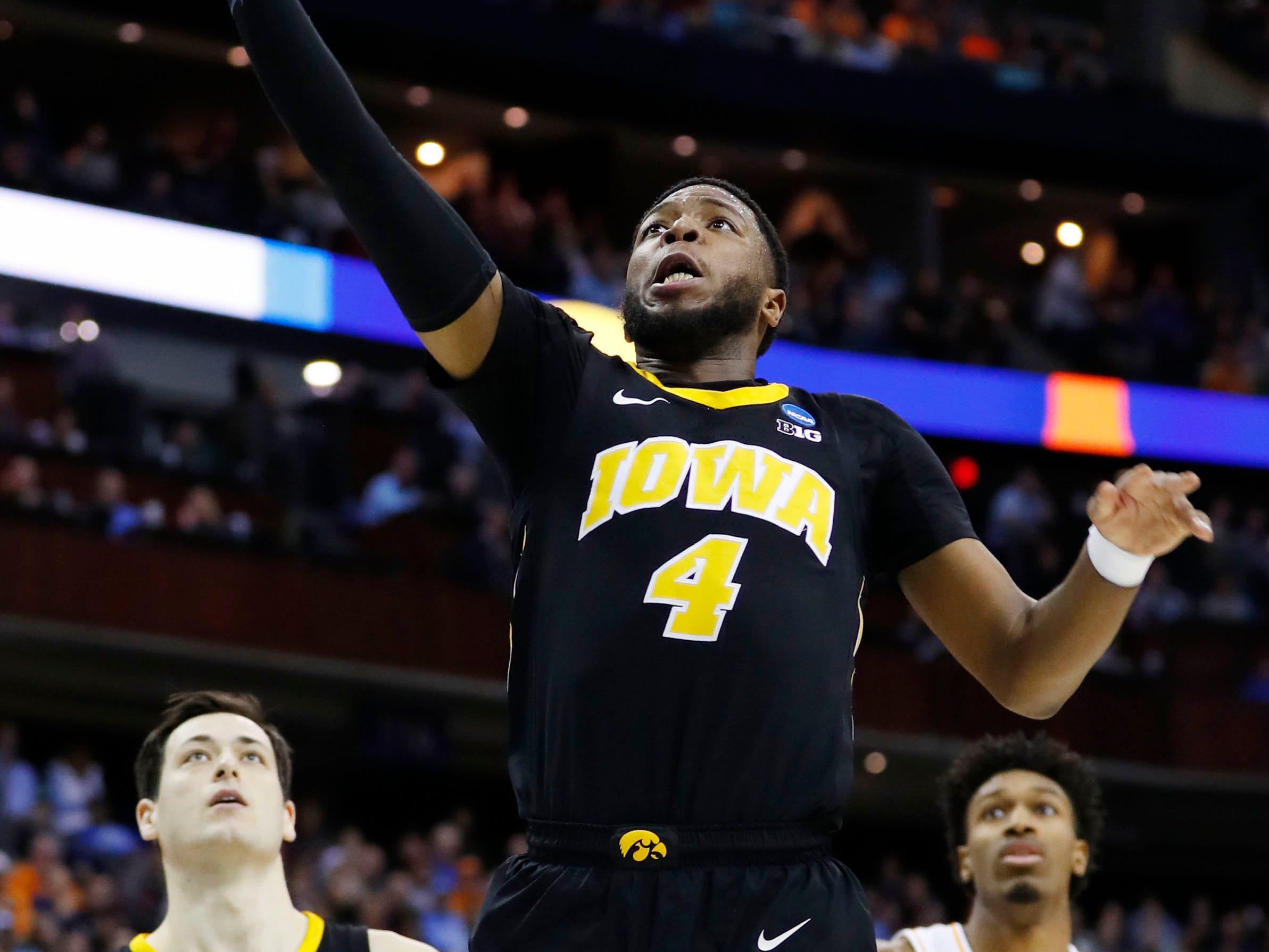 Iowa Hawkeyes guard Isaiah Moss (4) goes to the basket in the first half against the Tennessee Volunteers in the second round of the 2019 NCAA Tournament at Nationwide Arena.